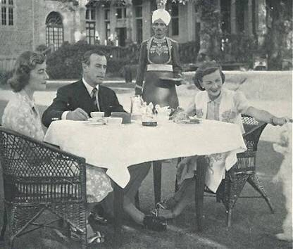Lord Mountbatten and Viceroy of India having breakfast at the Lodge in Shimla